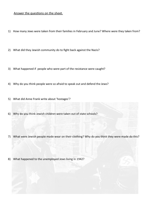 Nuremberg Laws and Anne Frank Lesson Plan – Anne Frank Worksheets